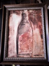 FRAMED ORIGINAL SIGNED PAINTING MIX MEDIA WINE BOTTLE NEWSPAPER ALEMANY 2000